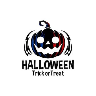 Ilustración de una calabaza de miedo halloween vector logo ilustración plantilla de vector de terror
