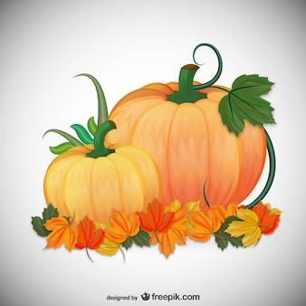 Ilustración con calabazas de otoño