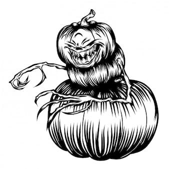 Ilustración de calabazas con su cuerpo hecho por calabazas.