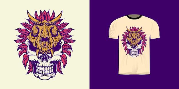 Ilustración de calavera con casco de calavera de león con coloración retro para diseño de camiseta