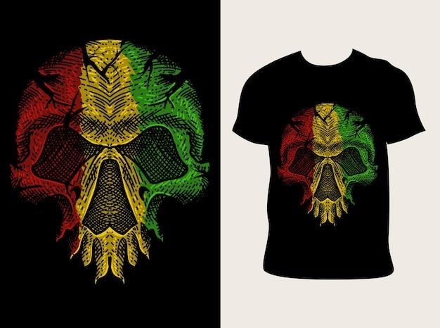 Ilustración calavera color reggae con diseño de camiseta