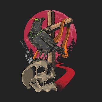 Ilustración de calavera y cuervo