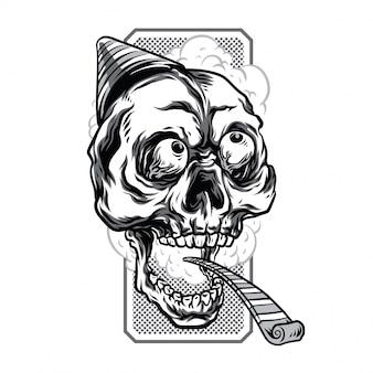 Ilustración de calavera de cumpleaños en blanco y negro