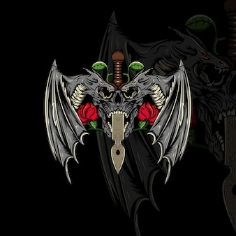 Ilustración de calavera, dragón, espada y flor.