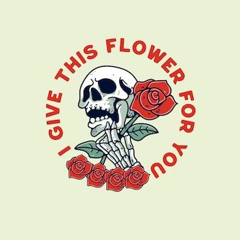 Ilustración de calavera con flor rosa diseño retro vintage para camiseta