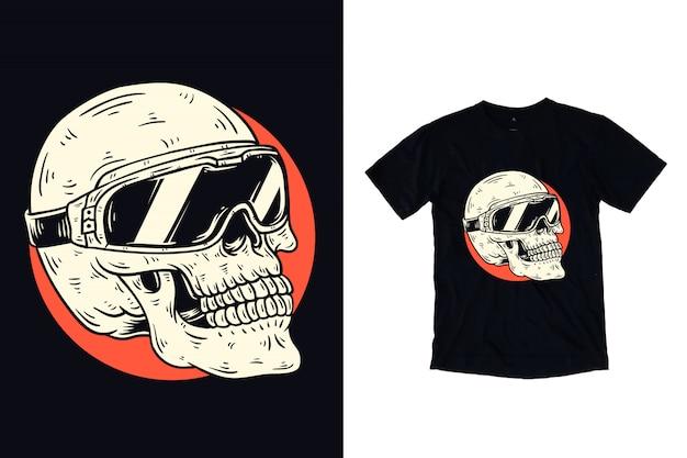 Ilustración de calavera con gafas para camiseta