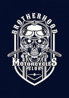 Ilustración de calavera de moto para camiseta