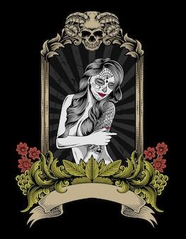 Ilustración de calavera de mujer de azúcar en adorno de grabado vintage