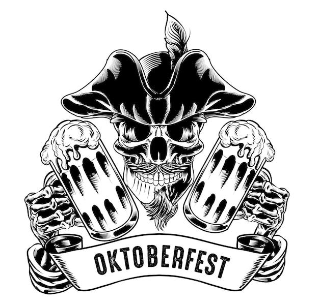Ilustración de calavera pirata aislada con cerveza para logotipo y elemento de marca