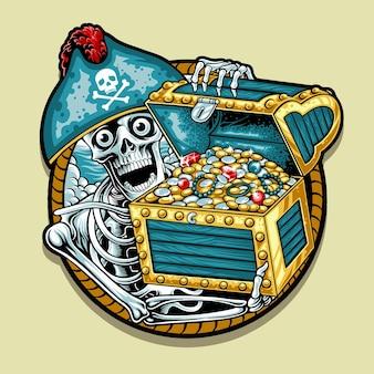 Ilustración de calavera pirata y el tesoro.
