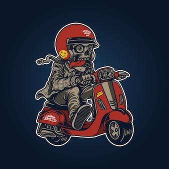 Ilustración de calavera retro con scooter