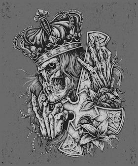 Ilustración de calavera rey de grunge para mercancía de banda o ropa