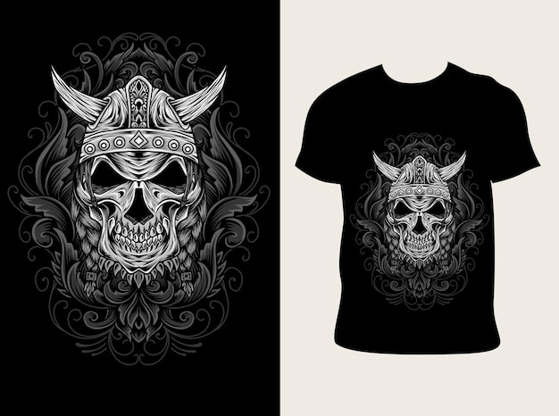 Ilustración de calavera vikinga con diseño de camiseta