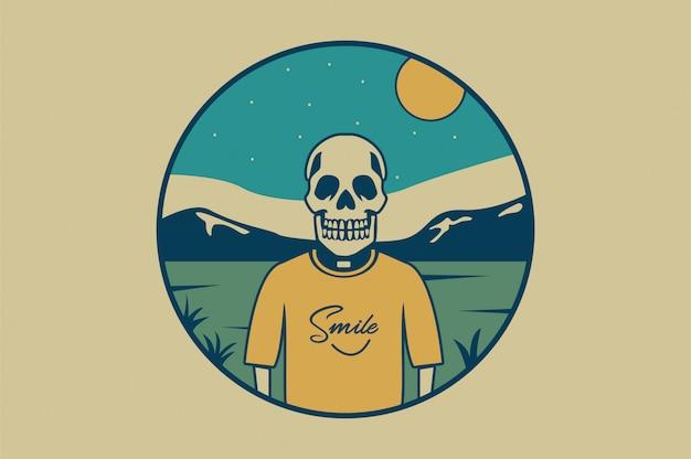 Ilustración de calavera con ypografía smile para camiseta.