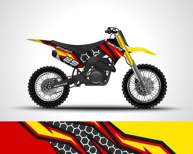 Ilustración de calcomanía de envoltura de motocross y pegatina de vinilo