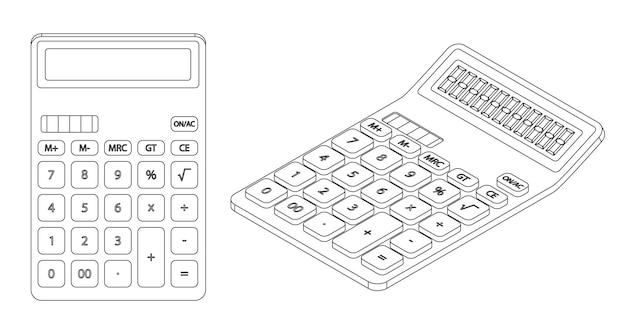 Ilustración de calculadora de arte de línea vectorial