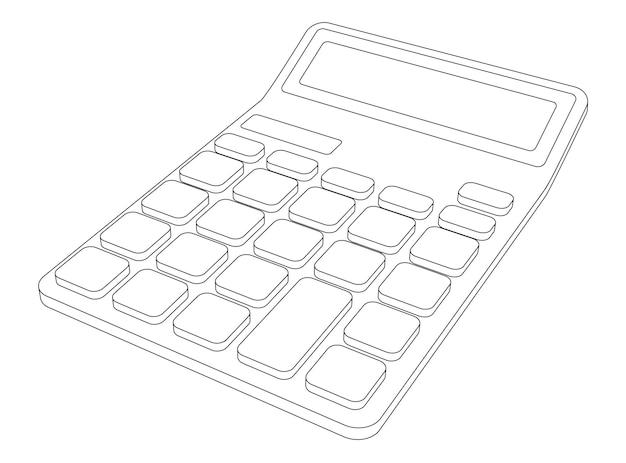 Ilustración de calculadora simple de arte de línea vectorial