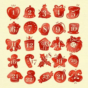 Ilustración de calendario de adviento en acuarela