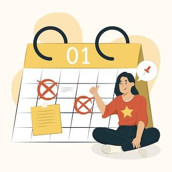 Ilustración de calendario de planificación de concepto de calendario