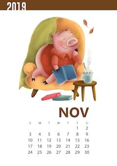 Ilustración de calendarios de cerdo divertido para noviembre de 2019