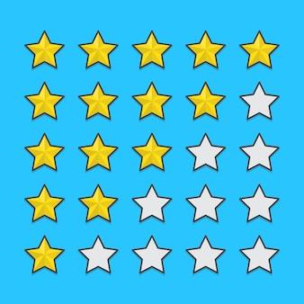 Ilustración de calificación de calidad de cinco estrellas. revisión de calificación de producto del cliente plana