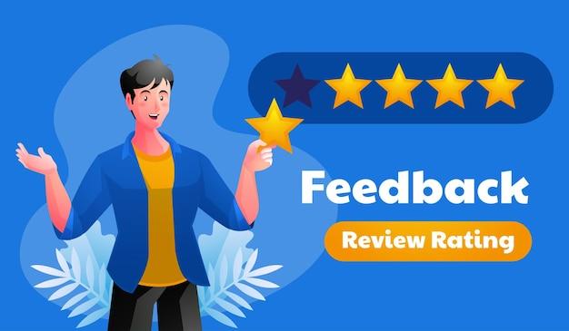 Ilustración de calificación de revisión de retroalimentación