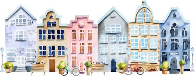 Ilustración de la calle de casas escandinavas acuarela
