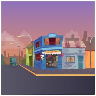 Ilustración de una calle de la ciudad