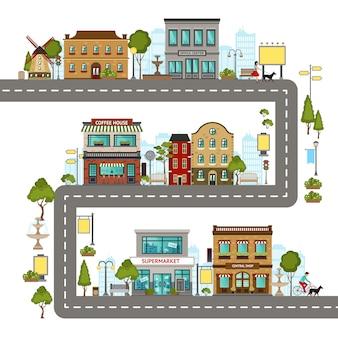 Ilustración de la calle de la ciudad
