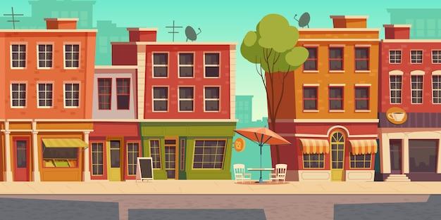 Ilustración de calle urbana con pequeña tienda y restaurante.