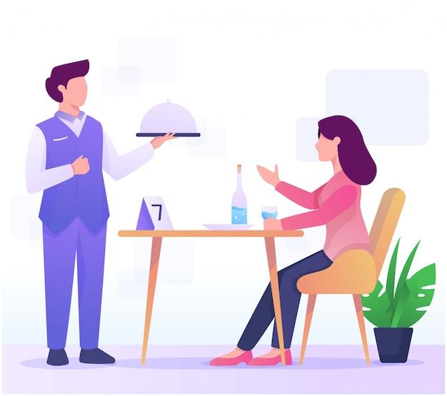 Ilustración de camarero y consumen en restaurante