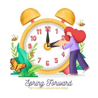 Ilustración de cambio de hora de primavera dibujada a mano con mujer y reloj