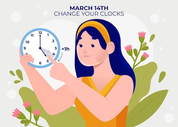 Ilustración de cambio de hora de primavera con mujer y reloj