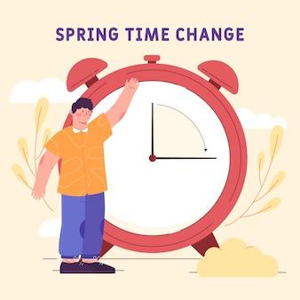 Ilustración de cambio de hora de primavera plana orgánica