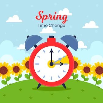Ilustración de cambio de hora de primavera plana