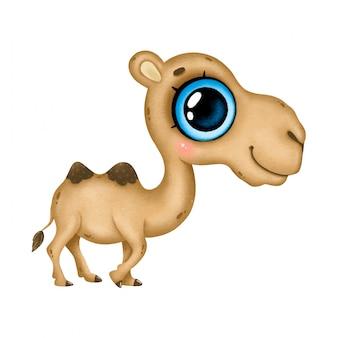 Ilustración de un camello marrón de dibujos animados lindo con grandes ojos azules aislado