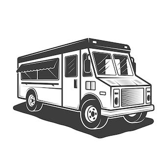 Ilustración de camión de comida en monocromo vintage sobre fondo blanco