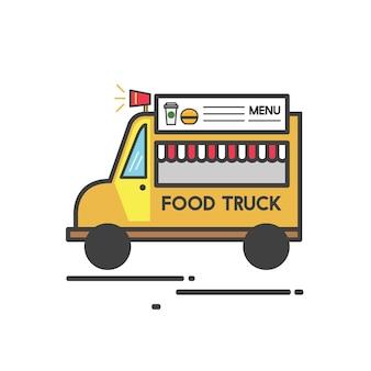 Ilustración de un camión de comida