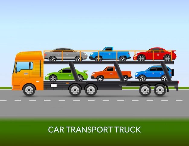Ilustración de camión de transporte de coche