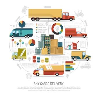 Ilustración de camiones de reparto