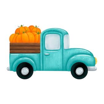 Ilustración de una camioneta pickup de coche verde de dibujos animados lindo con calabazas naranjas. camión de granja de cosecha de otoño aislado