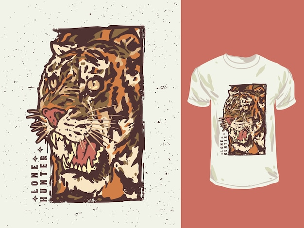 Ilustración de camiseta dibujada a mano de tigre de estilo vintage