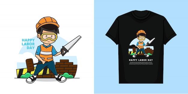 La ilustración y la camiseta del muchacho lindo como trabajador está sosteniendo una sierra y un martillo.