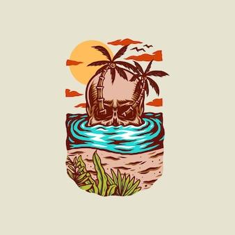 Ilustración de camiseta de playa de verano de cráneo