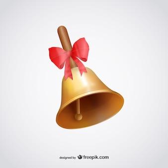 Ilustración de campana con cinta roja
