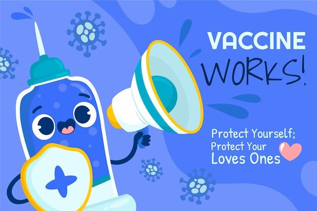 Ilustración de campaña de vacunación de dibujos animados