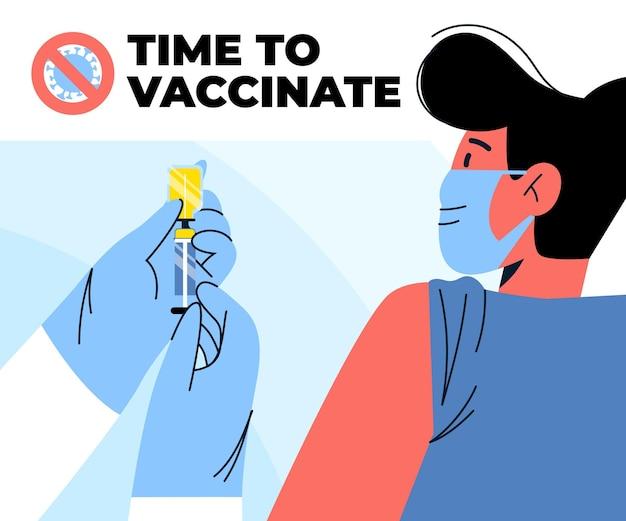 Ilustración de campaña de vacunación plana