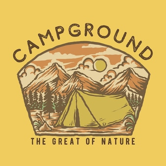 Ilustración de camping de montaña handdrawn