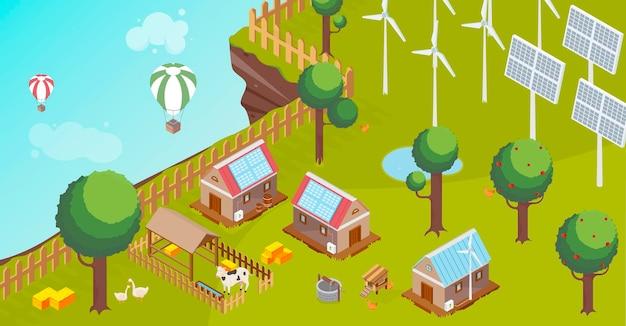 Ilustración de campo y energías renovables.