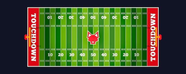 Ilustración del campo de fútbol americano en la vista superior